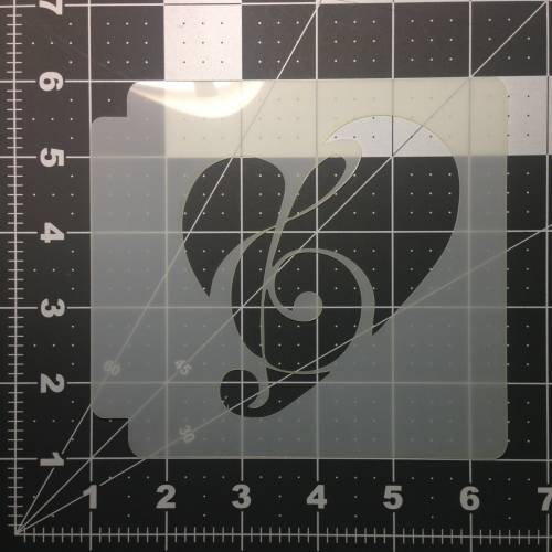 Note Heart Stencil 100