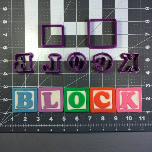 Alphabet Blocks Font Uppercase Cookie Cutter Set
