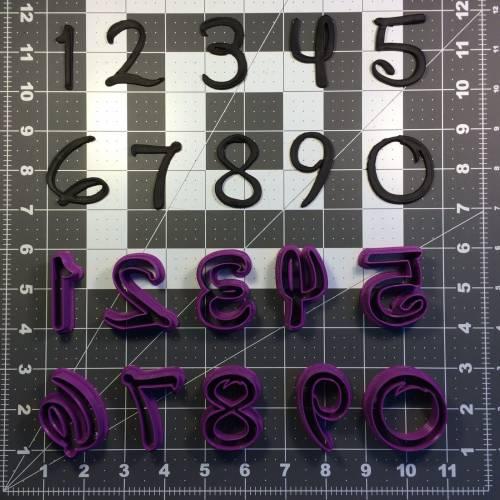 Cursive Font Number Cookie Cutter Set