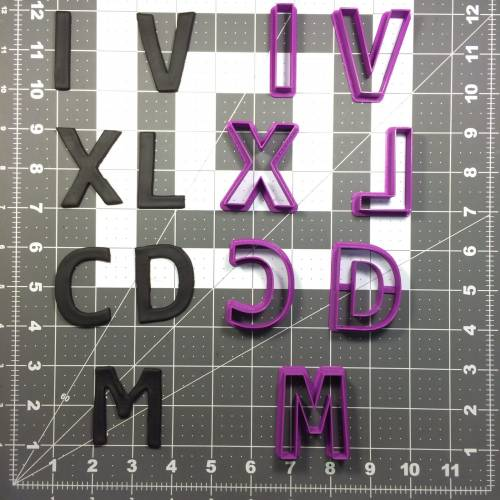 Roman Numeral Number Cookie Cutter Set