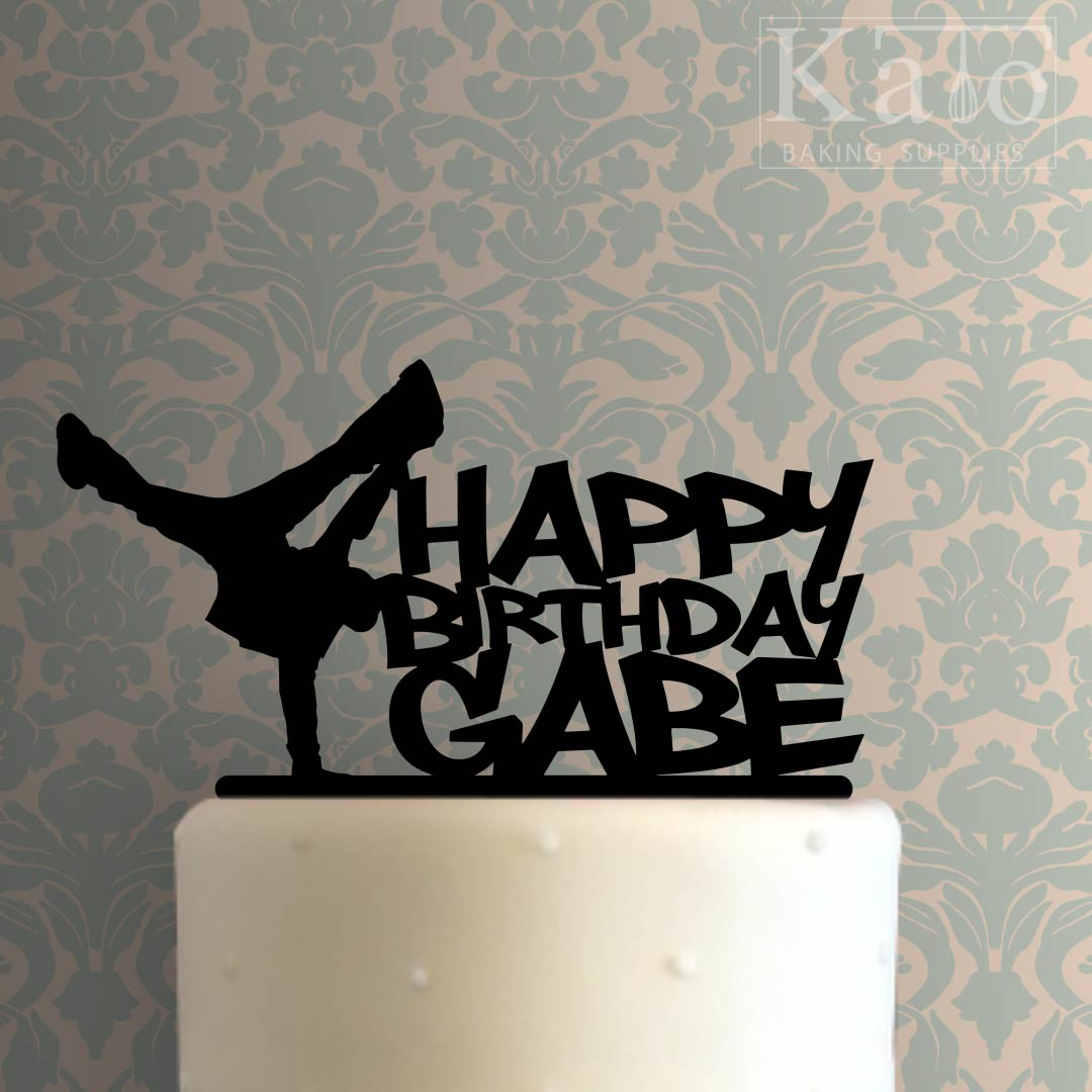 Custom Breakdancer Happy Birthday Cake Topper 100