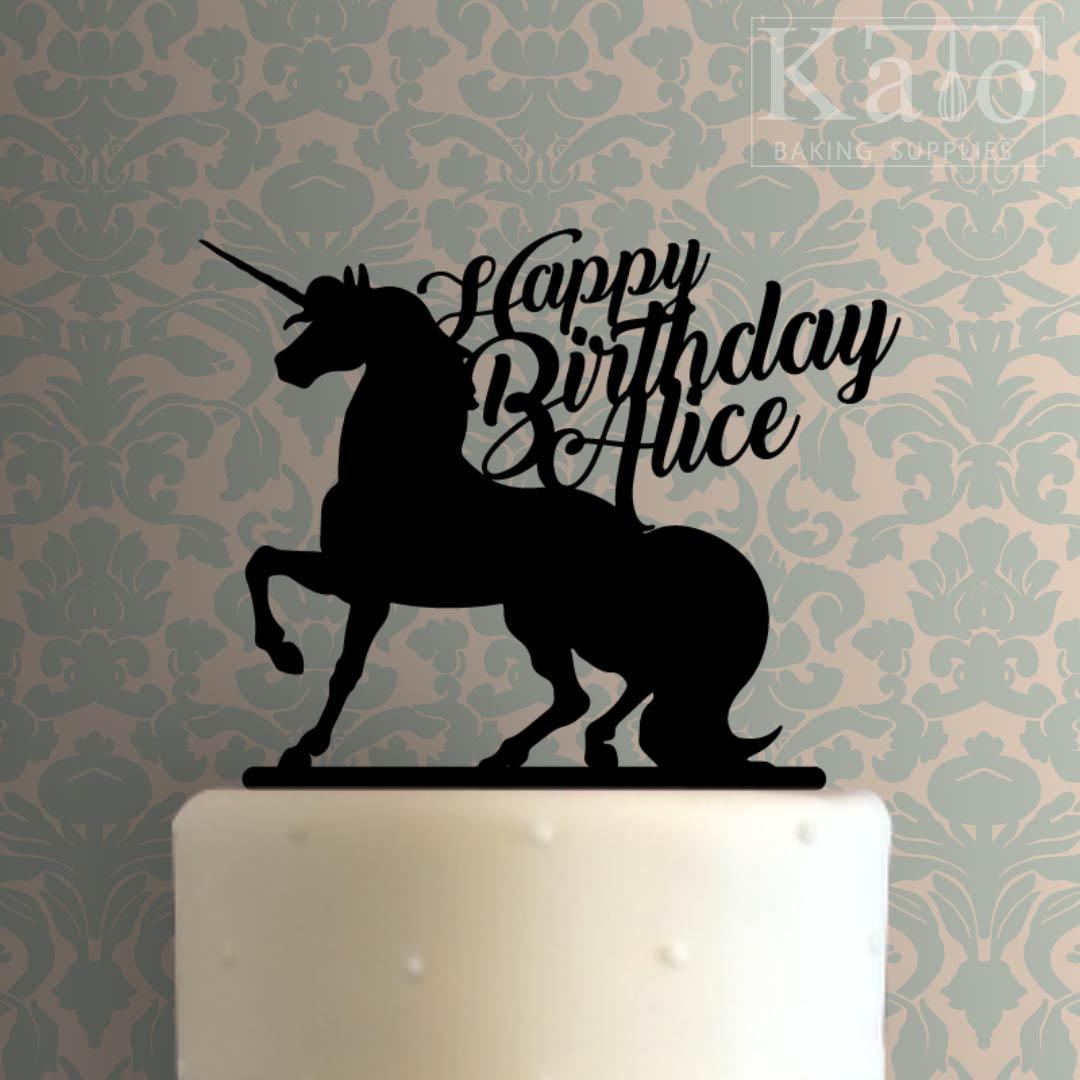 Custom Unicorn Happy Birthday Cake Topper 100