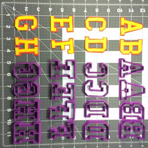 College Font Uppercase Offset Cookie Cutter Set (1)