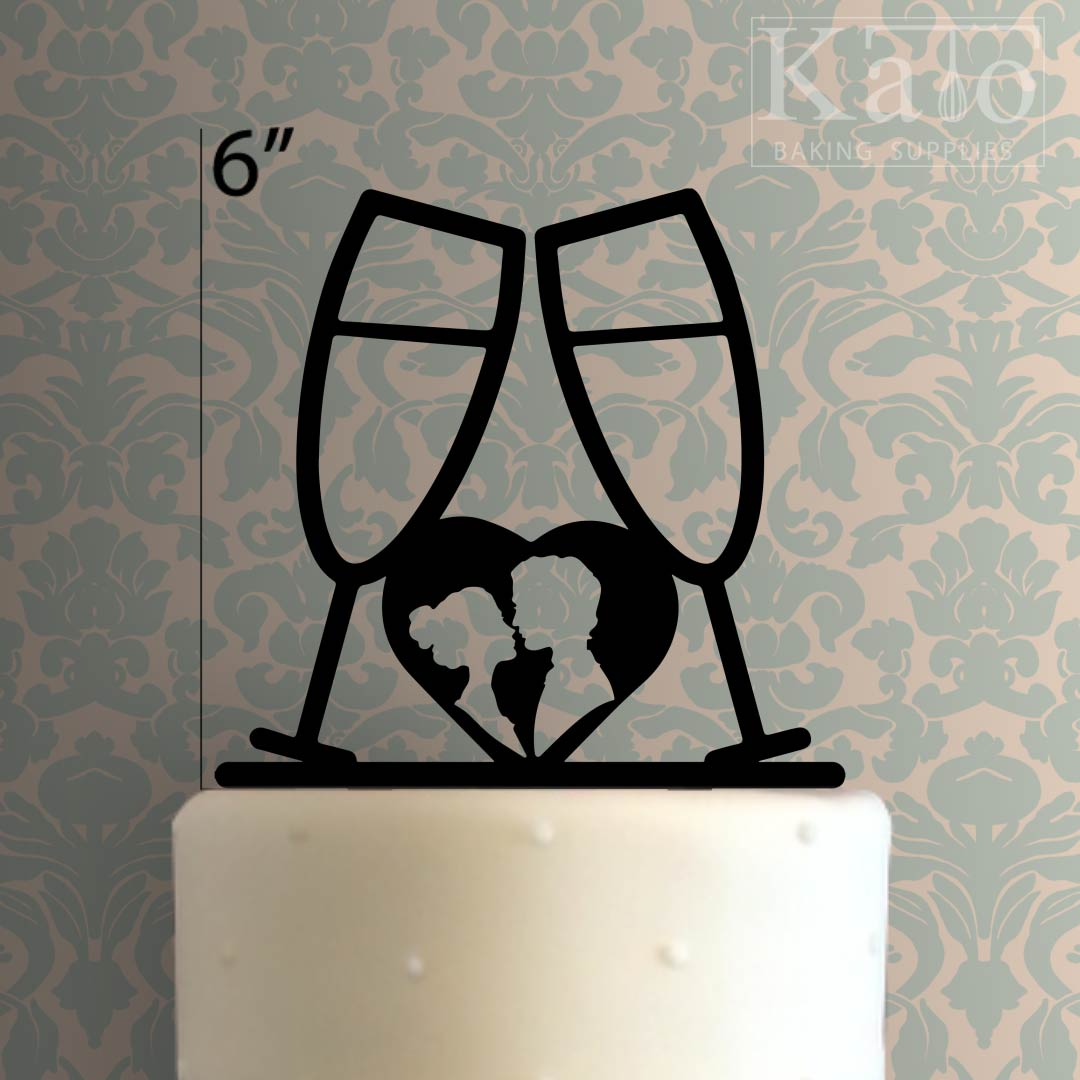 champagne cup heart cake topper 100
