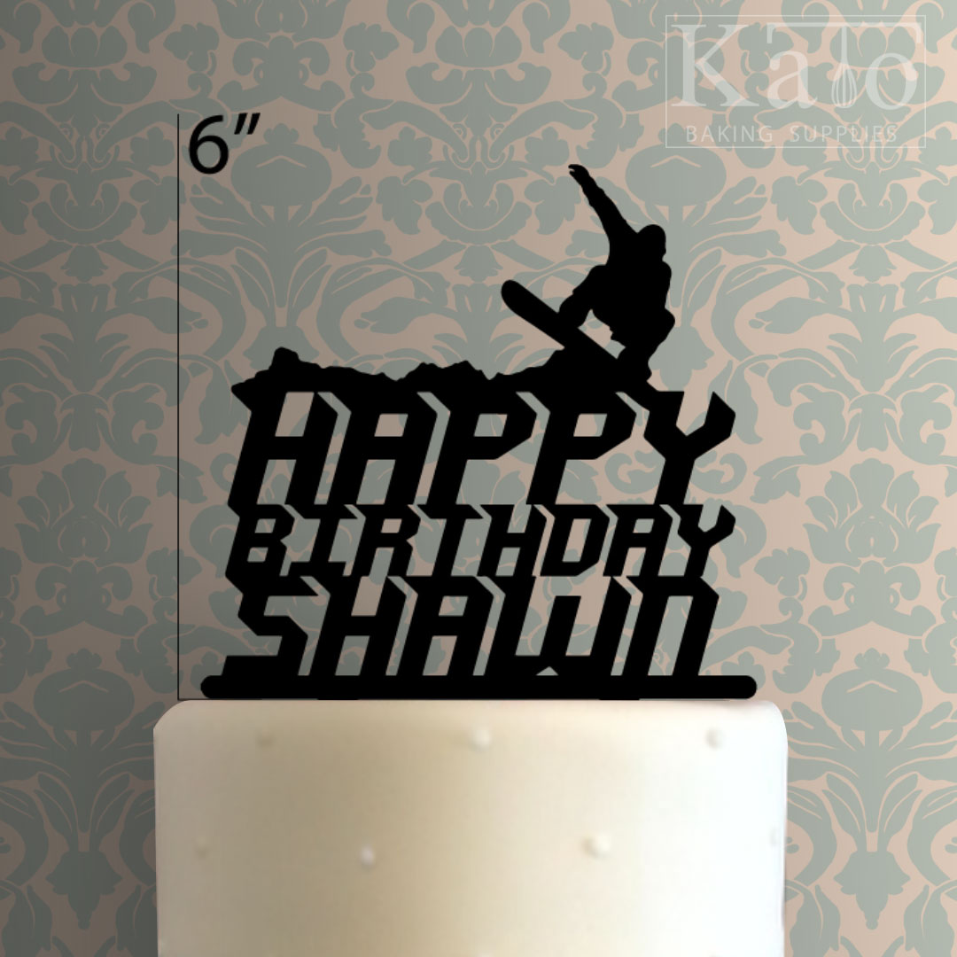 Custom Snowboard Happy Birthday Cake Topper 100