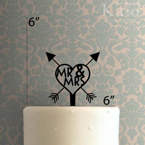 Mr and Mrs Arrow Heart Cake Topper 100